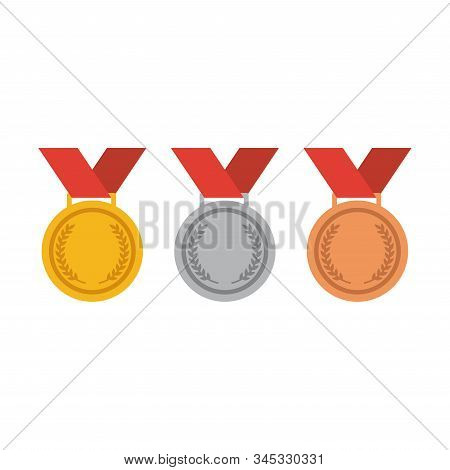 Colorful Medal Set For First, Second And Third Place. Gold, Silver, Bronze Medals Cartoon Vector.