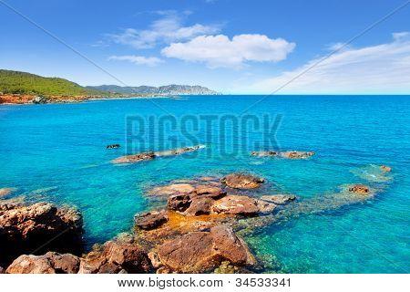 Ibiza Canal d en Marti Pou des Lleo beach in balearic islands of Mediterranean sea