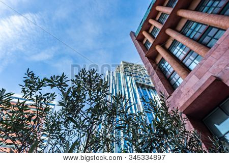 Glass Tower Buildings In The Financial Center Of The City Of Amsterdam Called Zuid-as Or South-axe