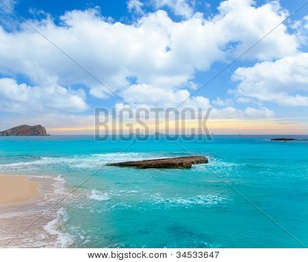 Ibiza Cala Conta Comte Compte sunset with bledas islands in horizon
