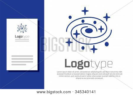 Blue Milky Way Spiral Galaxy With Stars Icon Isolated On White Background. Logo Design Template Elem