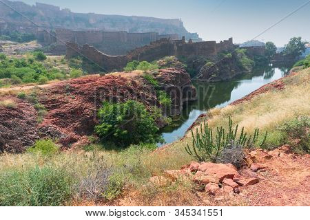 View Of Mehrangarh Fort From Rao Jodha Desert Rock Park, Jodhpur, India. A Lone Cactus In The Foregr