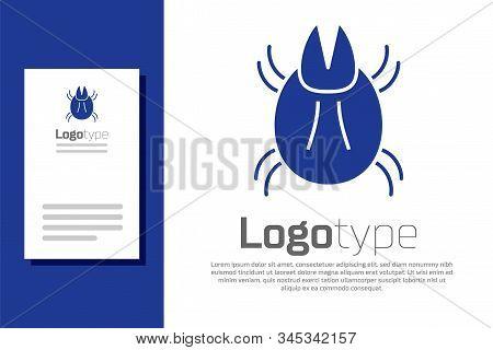 Blue Parasite Mite Icon Isolated On White Background. Logo Design Template Element. Vector Illustrat