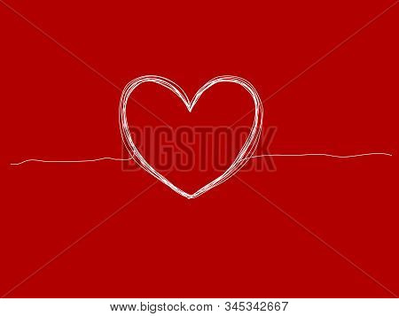 Vector Illustration Of Hand Drawn Heart On Red Background