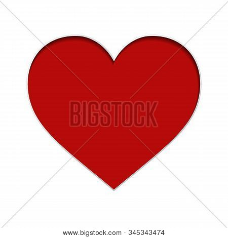 Vector Red Paper Heart On White Background