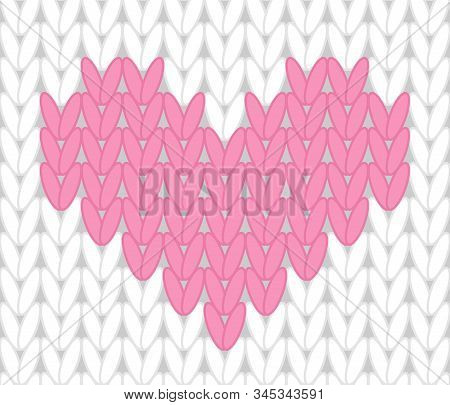 Vector Knitting Seamless Background With Pink Hearts
