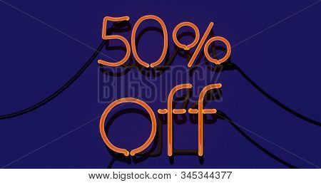 50 Percent Discount 3d Sign On In Blue Background, Special Offer 50% Neon, Sale Up To 50 Percent Off