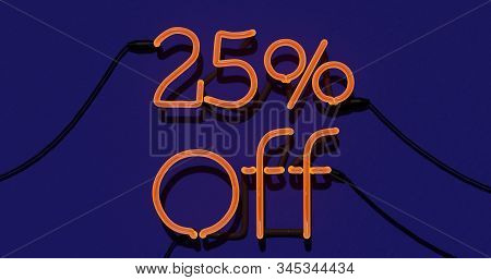 25 Percent Discount 3d Sign On In Blue Background, Special Offer 25% Neon, Sale Up To 25 Percent Off