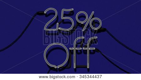 25 Percent Discount 3d Sign Off In Blue Background, Special Offer 25% Neon, Sale Up To 25 Percent Of