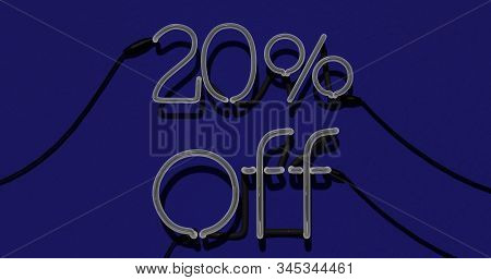 20 Percent Discount 3d Sign Off In Blue Background, Special Offer 20% Neon, Sale Up To 20 Percent Of