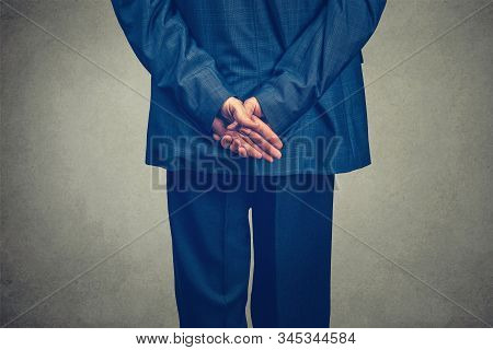 Isolated Half-length Studio Shot Of The Backside Of A Businessman Back Facing Away From The Camera L