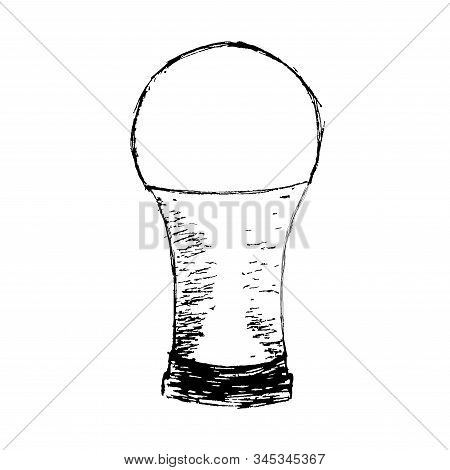 An Isolated Element On A White Background. Magical Light Bulb Drawn By Hand. Can Be Used As A Logo O