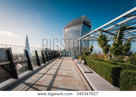 London, Uk - October 18, 2019: The Garden At 120 Is A Terrace On The Roof Of The Fen Court Building.