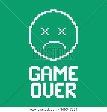 Game Over On Screen. The Round Face Of A Deceased Character. Flat Vector Illustration.
