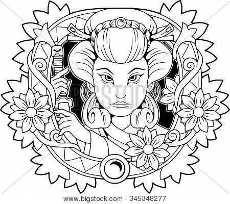 Cute Geisha With A Sword In His Hand, Coloring Book, Illustration Design