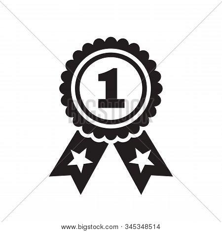Number One Badge - Black Icon Flat Design. Black & White Colors. Winner Graphic Sign. Vector Illustr