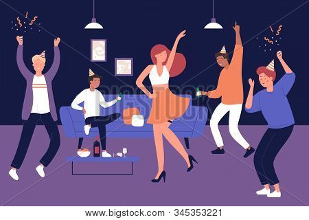 Bachelor Man Party At Home Vector Illustration