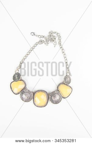 Chunky Fashion Statement Necklace Jewelry In Silver And Light Yellow On A Chain.  Fashion Accessory