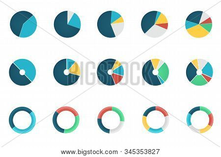 Set Of Wheel Chart Icons Or Round Diagrams With Various Sectors Isolated On White Background