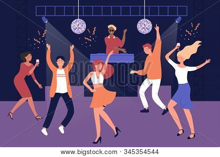Night Club People Students Discotheque Vector Illustration