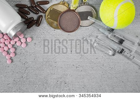 Pile Of Drugs In Pills And Injections And Sports Medals, Background Image For Adding Text. Concepts