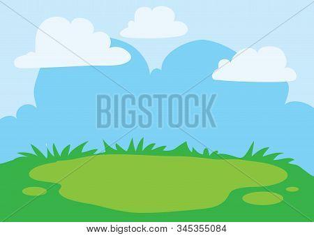 Background Of Blue Sky And Green Glade, Summer Landscape, Warmth, Joy,