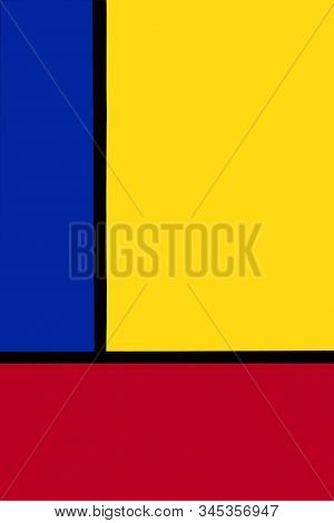 Yellow, Red, Blue And Black Colored Geometry Abstract 2020 Trendy Art Background.