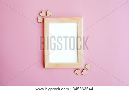 A Beautiful Wooden Frame For Cards, Poster Or Photos. Wooden Hearts. Valentines Day, Mothers Day, In