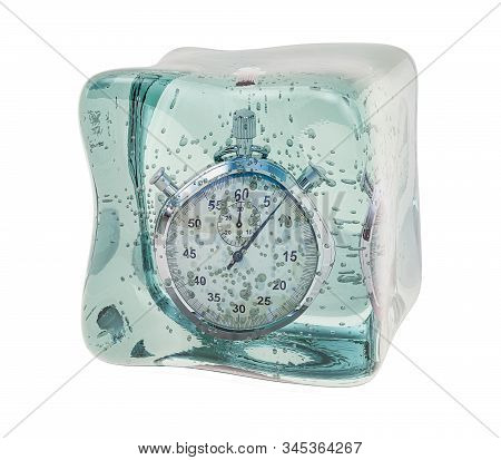 Stopwatch Frozen In Ice Cube. Freeze Time Concept, 3d Rendering Isolated On White Background
