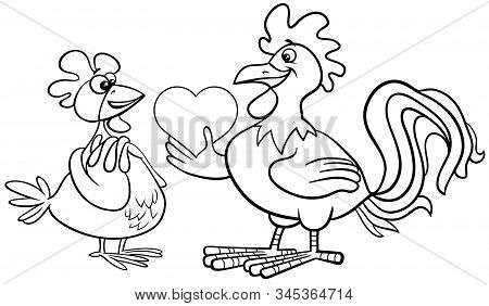 Black And White Valentines Day Greeting Card Cartoon Illustration With Hen And Rooster Characters In