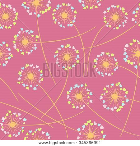 Cute dandelion blowing vector floral seamless pattern. Lovely flowers with heart shaped petals. Dandelion herbs meadow flowers floral pattern design. Meadow blossom with hearts fuzz. poster