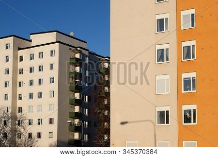 High-rise Swedish Multi-family 1950s Buildings Exterior View.