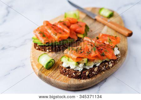 Smoked Salmon Ricotta Cheese Dill Rye Sandwich