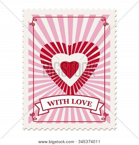 Valentine S Day Postage Stamp, For Postcard, Mail Envelope. Heart, With Love, Retro, Vintage, Vector