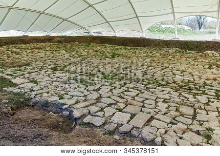 Pliska, Bulgaria - April 10, 2017: The Remains Of The Capital City Of The First Bulgarian Empire For