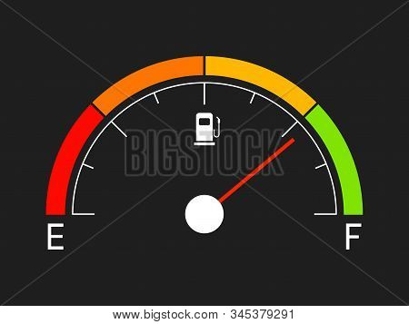 Fuel Gauge. Gasoline Icon Isolated On Black Background. Gas Indicator In Flat Style. Oil Bar With Co