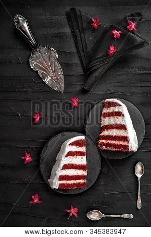Simple Red Velvet Cake On A Black Background