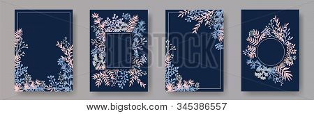 Tropical Herb Twigs, Tree Branches, Flowers Floral Invitation Cards Collection. Herbal Frames Modern