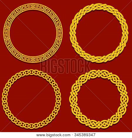 Round Interwoven Chinese Frame. Vintage Elements On Classic Red Background.