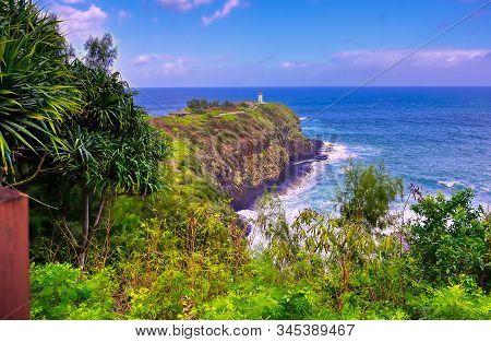 The Kilauea Lighthouse On The Coast Of Kauai, Hawaii.