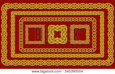 Set Of Interwoven Frames And Square Elements In Ethnic Style. Chinese, Asian Or Celtic Pattern Of In