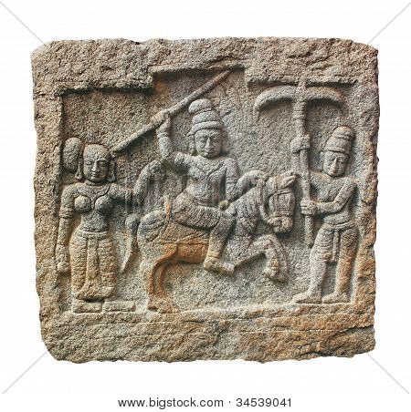 Stone Carving Of Hindu God And Godess On A Granite Stone. The Carving Was Created In 14Th Century Ad