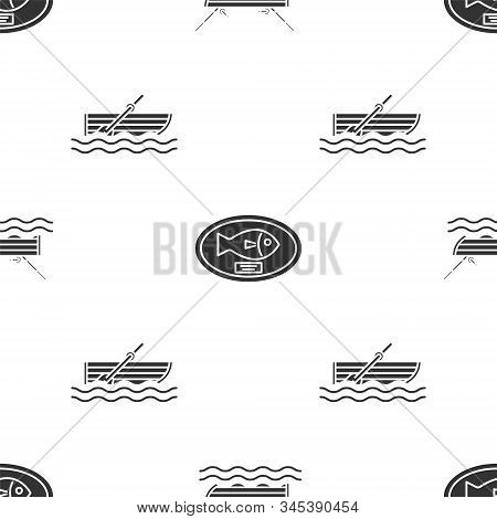 Set Fishing Boat With Fishing Rod On Water, Fish Trophy Hanging On The Board And Fishing Boat With O