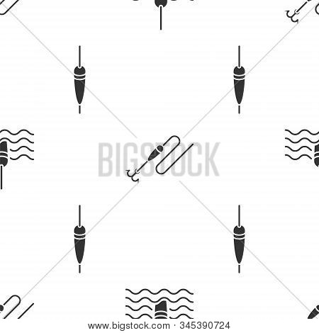 Set Fishing Float In Water, Fishing Line With Hook And Float And Fishing Float On Seamless Pattern.