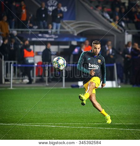 Prague, Czechia - October 23, 2019: Arthur Of Barcelona In Action During Training Session Before The