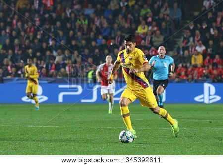 Prague, Czechia - October 23, 2019: Luis Suarez Of Barcelona Controls A Ball During The Uefa Champio