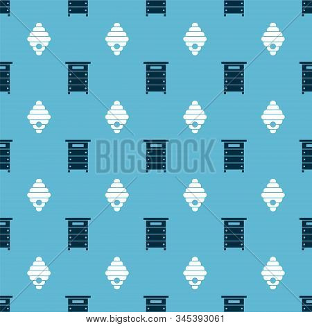 Set Hive For Bees And Hive For Bees On Seamless Pattern. Vector