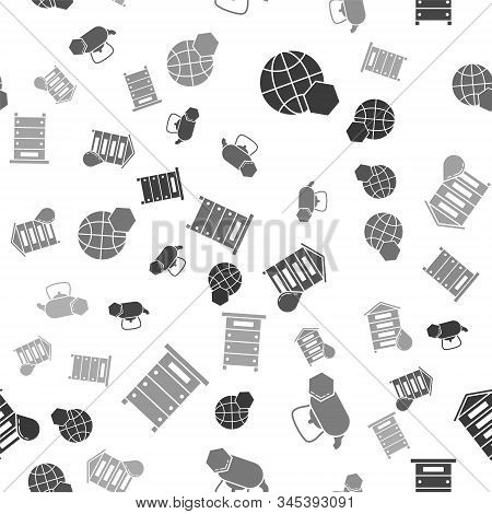 Set Honeycomb Map Of The World, Tea Kettle With Honey, Hive For Bees And Hive For Bees On Seamless P