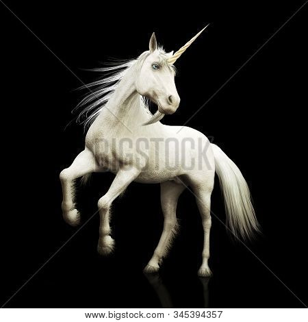 Unicorn Majestic Mythical Horned Horse On A Black Background. 3d Rendering
