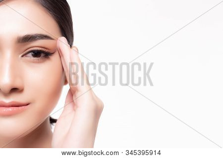 Perfect Skin Face Concept. Closeup Beautiful Asia Model Face With Isolated On White Background. Attr